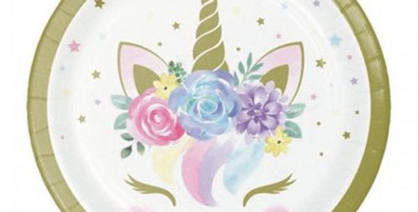 18cm Unicorn Baby plates 8pk