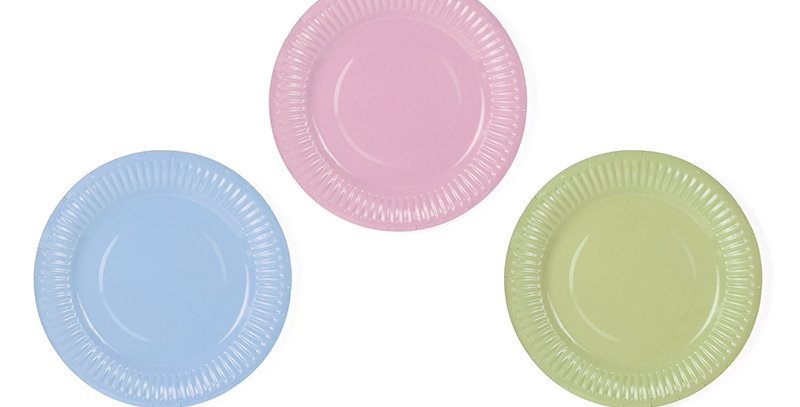 Pastelove Paper Plates, sky-blue, light pink and light olive, diameter approx. 1