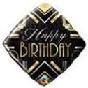 'Happy Birthday' Art Deco Balloon - 18'' Foil (each)