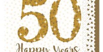 50th Gold Sparkling Wedding Anniversary Napkins - 33cm (16pk)