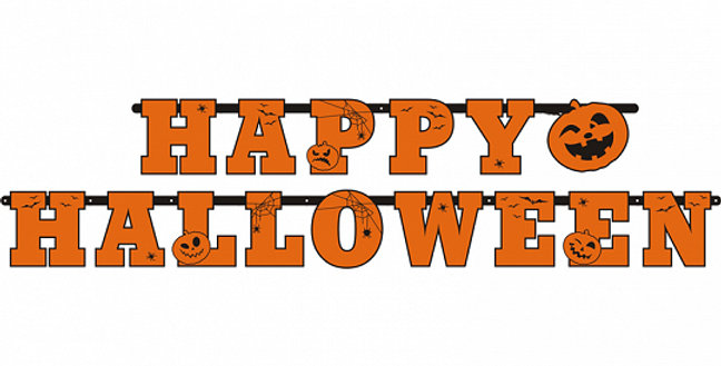 Banner Happy Halloween, size 13x210 centimeters.