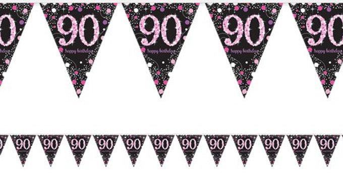 Celebration Age 90 Prismatic Foil Bunting - 4m (each)