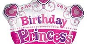 Birthday Princess Crown Shape - 18'' Foil Balloon