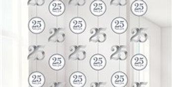 25th Silver Sparkling Wedding Anniversary String Decoration  6 strings