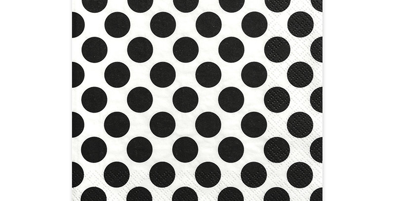 3-layer napkins Dots, white with black printing, size 33x33 centimeters. 20pk 3.