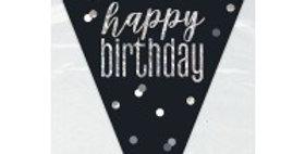 Black/Silver Glitz Happy Birthday Prism Flag