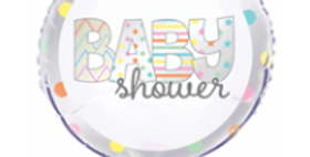 Baby Shower Sliver,White And Mutli Coloured  18'' foil