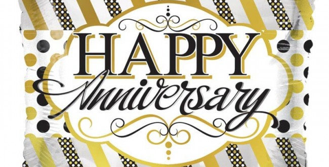 Anniversary Lines and Dots - 18'' foil balloon