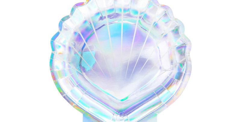 Plates Mermaid - Seashell, iridescent, 18.5cm 6pk