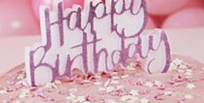 Add sparkle to your cake with our pink glitter Happy Birthday candle > Each pack
