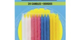 24 Twist Birthday Candles - Assorted