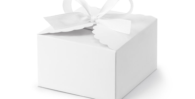Boxes in shape of cloud, made of white paper, in a set with a white ribbon appro