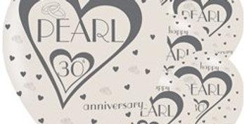 30th Pearl Wedding Anniversary Balloons - 11'' Latex (6pk)