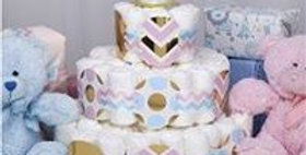 Pattern Works Blue and Pink Baby Shower Nappy Cake Decoration Kit : Nappy Cake T
