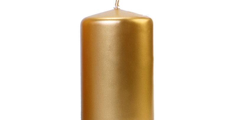 Pillar candle, metallic, gold, height 12 centimeters, diameter 6 centimeters. Bu