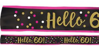 60th Pink & Gold Milestone Sash (each)