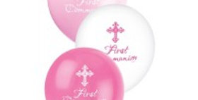 12'' Latex Balloon Communion Pink  6pk