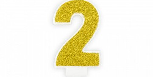Birthday candle Numbers gold glittery, size approx 7cm