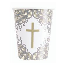 NEW Silver & Gold Fancy Cross 9oz Paper Cups 8pk