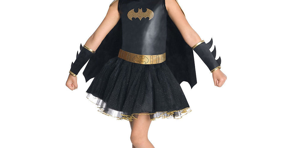 Batgirl child costume Dress with attached cape, glitter eye mask and gauntlets a