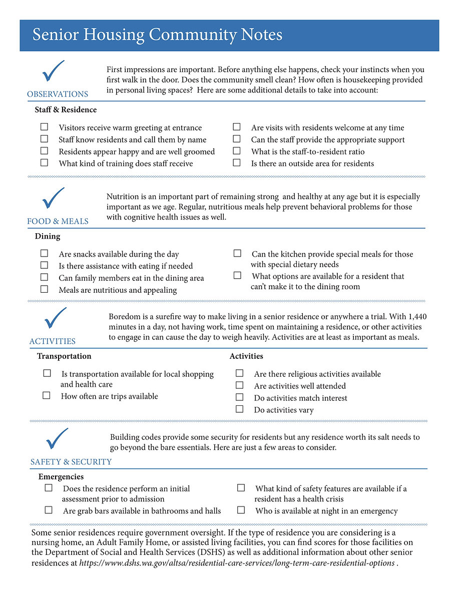 Senior Housing Community Notes Tip Sheet