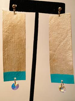Gold + Turquoise Rawhide Earrings