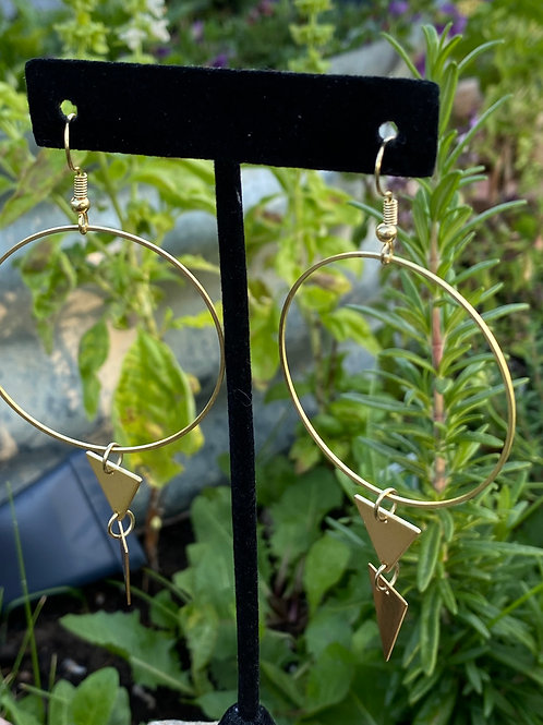 Gold Hoops with Double Spike