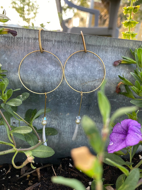 Small Golden Hoops with Dentalium