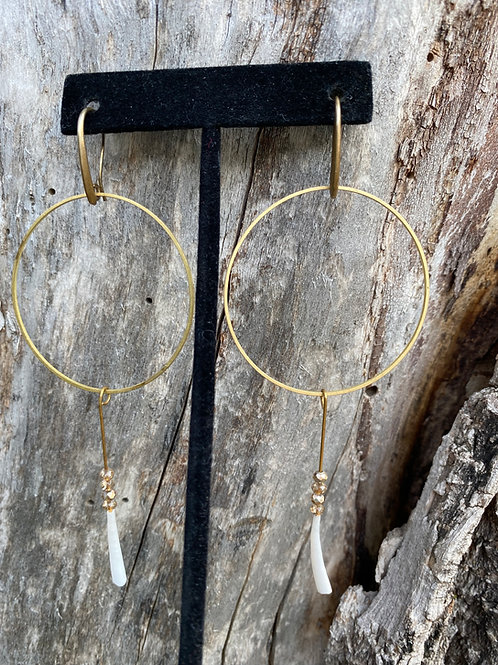 Large Golden Hoops with Dentalium