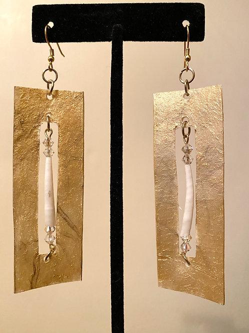 Gold + Dentalium Cut Out Earrings