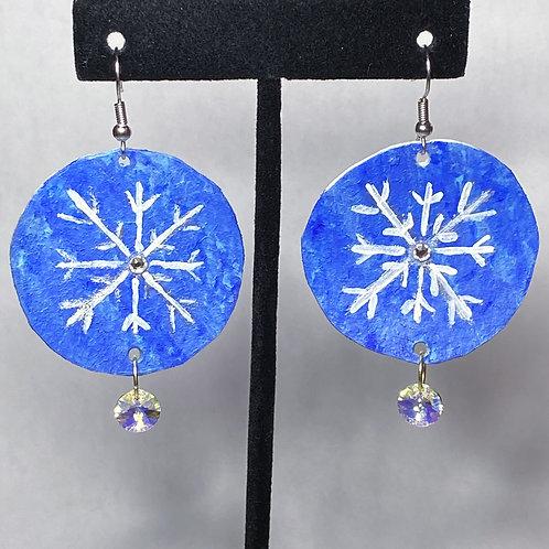 Blue Christmas Snowflake Earrings