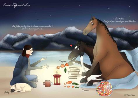 Agathe Vacher et ses deux juments de coeur