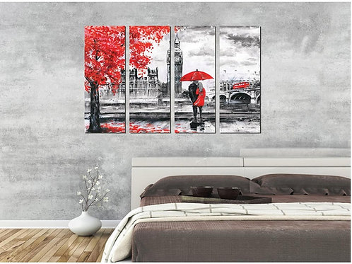 Multi Frame Wall Panel- Couple in Rain-Mono