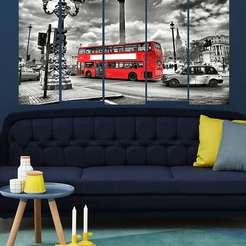 Multi Frame Wall Panel- Bus in Town-Mono