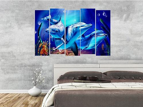Multi Frame Wall Panel- Deep Blue Penguins