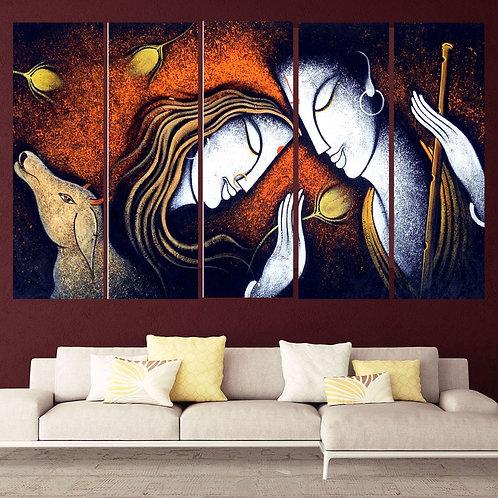 Multi Frame Wall Panel- Radha Krishan Devotion