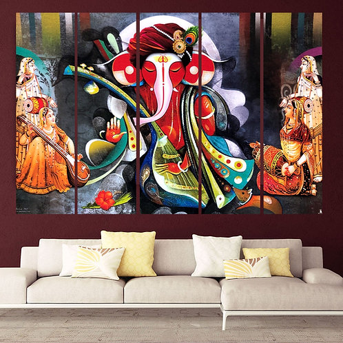 Multi Frame Wall Panel- Ganesha with Sitar