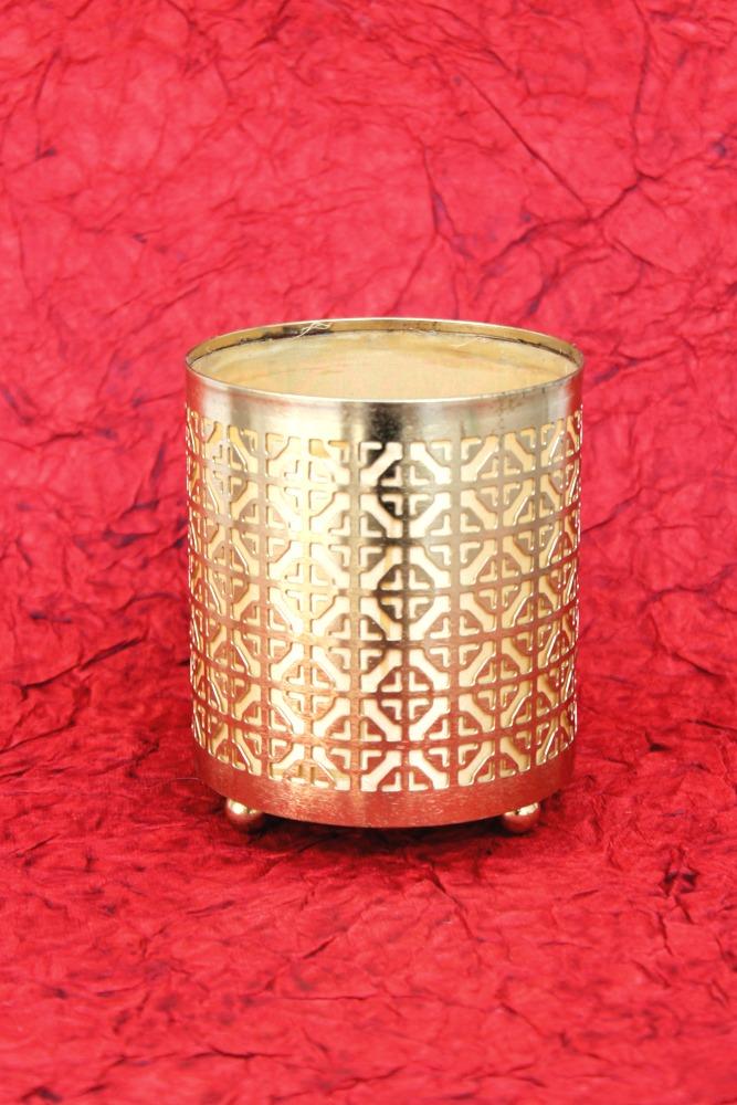 T-Light Holder Basket (Golden)