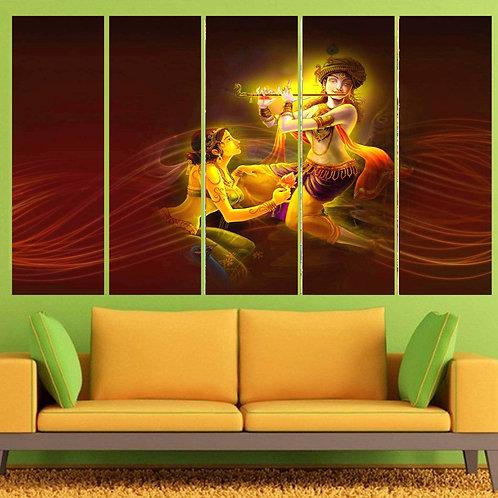Multi Frame Wall Panel- Playful Radha Krishna