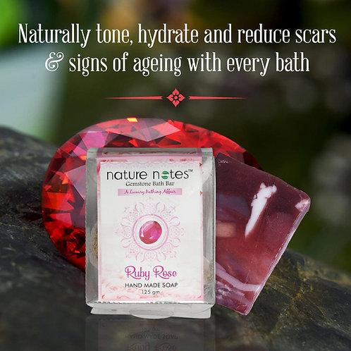 Nature Notes- Gemstone Bath Bar-Ruby Rose-125gm
