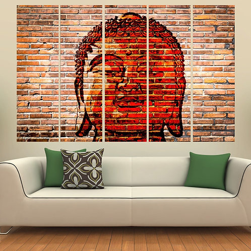 Multi Frame Wall Panel- Buddha On Bricks