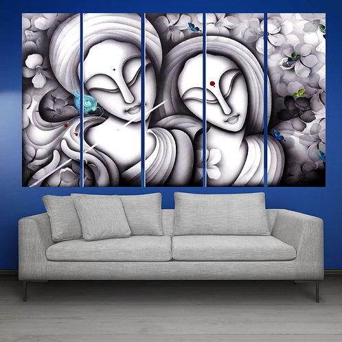 Multi Frame Wall Panel- Radha Krishan Abstract2