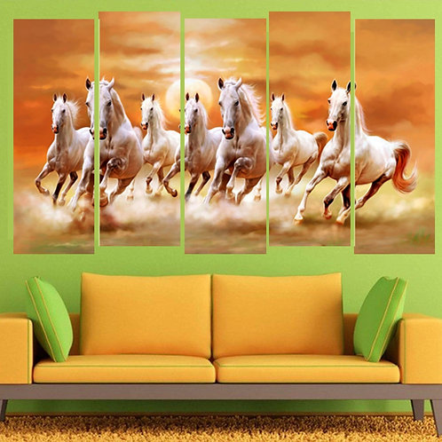Multi Frame Wall Panel- Troop Of 7 Horses