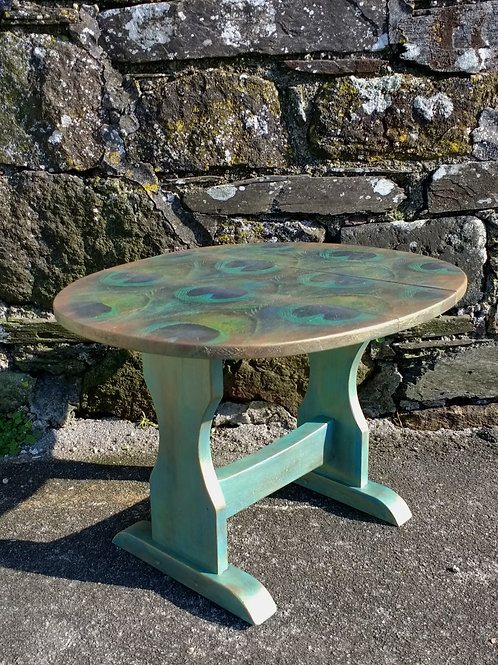 Decoupaged Drop Leaf Painted Side Table