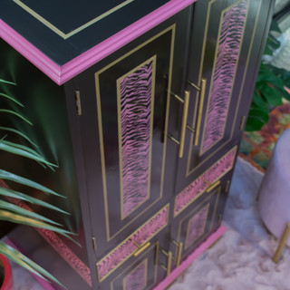 Zebra stencilled painted drinks cabinet