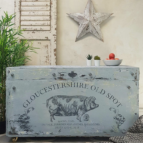 Blue Painted Chest Trunk - Bedding Box - Grey - Country Furniture - Shabby Chic