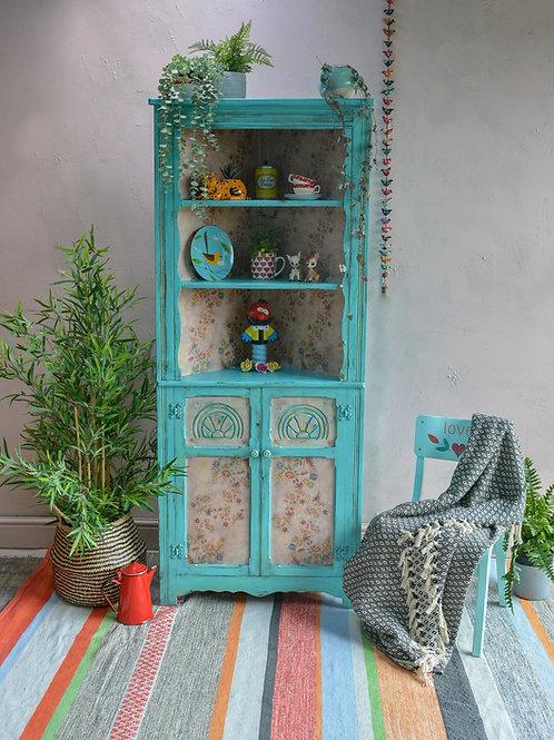 Folksy Turquoise Decoupaged Corner Cabinet