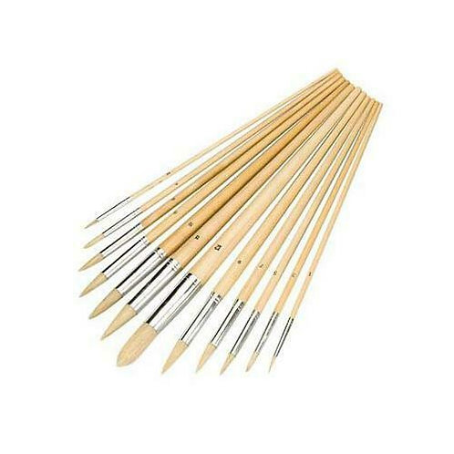 Silverline 675298 Artists Paint Brush Set 12 Piece Assorted Pointed Tip 3mm-14mm