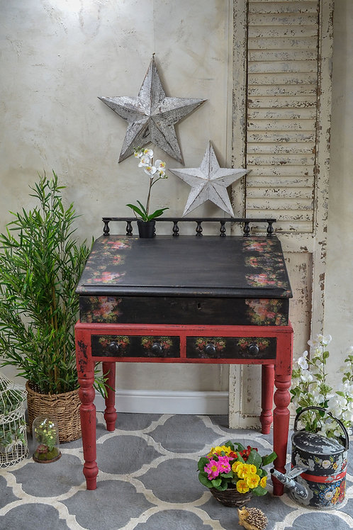 Fleur Black Red Milk Painted  Decoupaged Desk