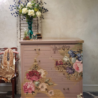 1 Damask Pink painted drawers by The Pai